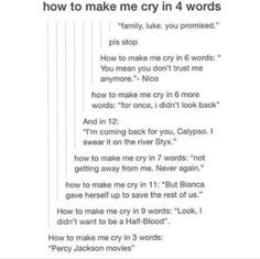 PJO demigods | Percy Jackson | How to make me cry in this many words