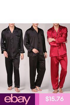 51f2a57a52 Men Satin Silk Pyjama Soft Lounge wear Pajamas Sets Tops & Pants Home Suit
