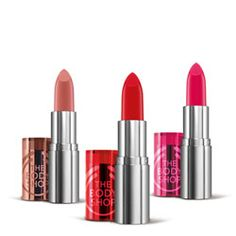Colour Crush™ Lipstick | The Body Shop ® in Blushing Pink (225), Innocent Pink (215), and Sweetheart Pink (210)