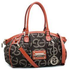 Anais Gvani ® Women's Petite Wide Shoulder Bag with Croco Trim & Logo Monogram-Coffee/Orange