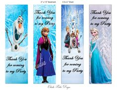 Frozen Book Marks, DIY Printable, Thank you party favors, Frozen party favors, Frozen BookMark, Anna and Elsa, Olaf Disney