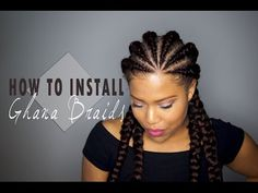 How to install Ghana Cornrows / Invisible Cornrows on Natural Hair - YouTube