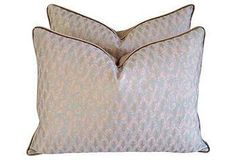 A beautiful pair of custom pillows in soft pink!
