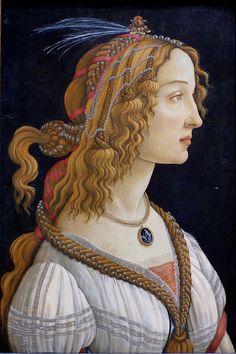 Sandro Botticelli, Weibliches Idealbildnis, genannt Bildnis der Simonetta Vespucci als Nymphe (Idealized female portrait aka Simonetta Vespucci as a nymph)