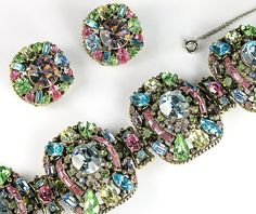 Hollycraft 1955 Pastel Rhinestones Bracelet and Earrings      From Ruby Lane Shop Anna's Vintage Jewelry