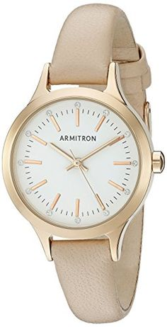 Armitron Womens 755372WTRGBH Swarovski CrystalAccented Rose GoldTone and Blush Pink Leather Strap Watch * Check out the image by visiting the link. (This is an Amazon affiliate link)