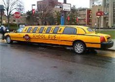 Limo school bus somewhere in the USA