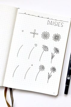 Bullet journal doodles - 17 Amazing Step By Step Flower Doodles For Bujo Addicts – Bullet journal doodles Bullet Journal Notebook, Bullet Journal Ideas Pages, Art Journal Pages, Journal Prompts, Bullet Journal Decoration, Doodle Drawings, Easy Drawings, Pencil Drawings, Cute Doodle Art