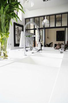 seamless Corian counter with integral drain board