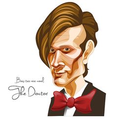 Vector caricature created in Adobe Illustrator using the pen and brush tools.   Doctor Who  The 11th Doctor by OddKidArt on Etsy, $12.00