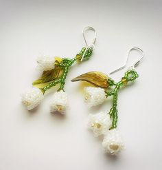 Beaded Lily of the Valley Earrings Lily of the by ShineAndBloom