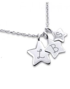 Silver Necklace '3 Stars engraving'