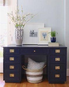 Navy Blue Campaign Desk by Saw Nail & Paint Diy Furniture Restoration, Refurbished Furniture, Home Office Furniture, Repurposed Furniture, Home Office Decor, Cheap Furniture, Quality Furniture, Painted Furniture, Furniture Design