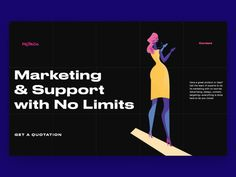 Fresh web design concept with dark background and bright custom illustrations: it's a landing page for the company that offers full cycle of services for marketing and promotion. Web Design, Graphic Design, Landing Page Design, Quotations, Advertising, Let It Be, Marketing, Promotion, Animation