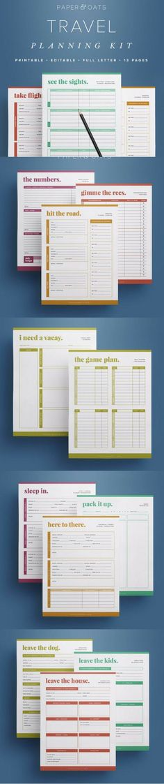 This printable vacation planner is perfect way to plan out your family vacation or roadtrip, including everything from flights to car rentals to hotels to sightseeing. Enjoy your vacation knowing all your travel plans are organized! Some sheets are designed to be printed multiple times according to the length of your travel time and the size of your family. #ad