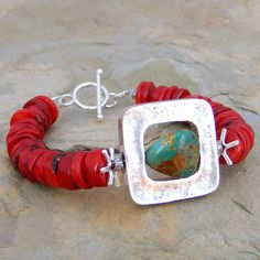 Red Coral and Sterling Framed Turquoise Bracelet by Elizabeth Plumb Jewelry
