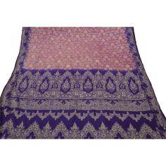 Indian Vintage Craft Saree Pure Silk Woven Fabric Décor Women Art Pink Sari