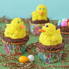 Chick Cupcakes Edible chicks make the perfect toppers for these spring-theme cupcakes. The chicks are easily constructed out of snack cakes, truffles, and frosting. Tucked into a chocolate frosting nest, these sweet chicks are perfect for p
