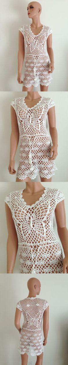 HANDMADE CROCHET DRESS white short hippie boho hobo Small cotton