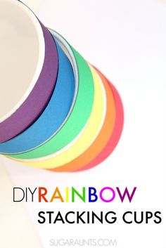 DIY Rainbow Stacking cups for learning rainbow order, color identification. This is great for preschoolers and building activities.