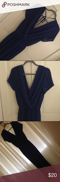Royal Blue Chiffon Romper Gorgeous long pants Romper. No closure at bust, so use fashion tape or Lacey bralette under.  Ties at neck and exposed back. Alythea Other