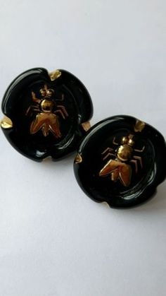 RARE! 2 BIMINI GLASS BUTTONS GOLD FLIES OR BEES ON BLACK. FLOWERPOT MARK 1940's