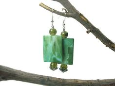 Chunky Green Earrings Acrylic Beads by WildRoseGiftBoutique, $11.00