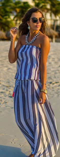 Stripe Off Shoulder Maxi Dress Summer Style by For The Love Of Fancy