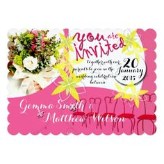 Bubblegum Pink Wedding Invitation -- personalize and order affordable wedding invitations