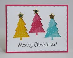 handcrafted Christmas caerd from Snippets By Mendi: Cute & Colorful Holiday Christmas Trees ... diagonal stripes of washi back negative space trees ... luv it!