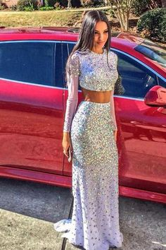 Two Pieces Long Lavender Crystals Beaded Long Sleeves Luxury Backless Prom Dresses uk PM400