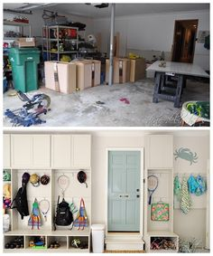 Amazing DIY Garage Transformation featured on Organize and Inspire.  Project by http://dixiedelights.blogspot.com/
