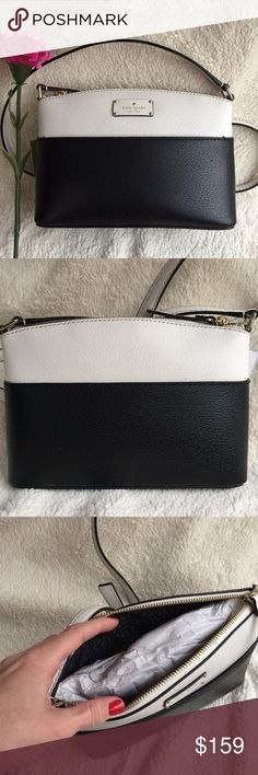 "✨SUNDAY SALE!!✨ NWT Kate Spade Millie Bag Brand new with tags! Gorgeous petite leather shoulder/crossbody bag in black and cream.   💗21"" adjustable strap drop.  💗14k light gold plated hardware.  💗Full length slip pocket in the front.  💗Top zipper closure.  💗9""w x 6.5""h x 3""d. kate spade Bags Crossbody Bags"