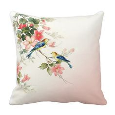 Cotton 16 X 16 Twin Sides Vintage Love Birds White Throws, White Throw Pillows, Vintage Birds, Vintage Love, Bird Pillow, Decorative Pillow Cases, French Country Decorating, Silk Painting, Designer Throw Pillows
