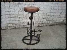 This Holy Funk bicycle industrial stool is a retro gem. With a rustic finish, this vintage bar stool is a great interior design option. Industrial Stool, Vintage Industrial Furniture, Retro Furniture, Furniture Styles, Unique Furniture, Luxury Furniture, Furniture Design, Industrial Design, Thrift Store Furniture