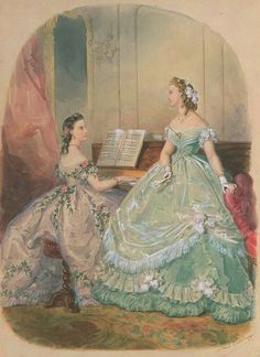 I would assume that sitting on a piano stool, in a crinoline, would be quite the feat of equalibrium.