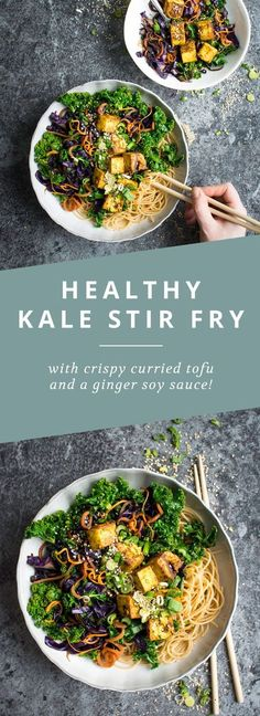 A healthy kale and carrot stir fry with crispy curried tofu!