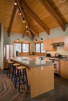 Contemporary kitchen concrete countertop concrete flooring cathedral ceiling