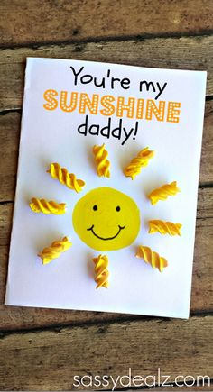 "Make this cute ""You are my sunshine"" card using noodles and paint! It's a great craft for kids to make for Mother's Day, Valentines, or any other special occasion."