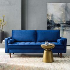 Shop a great selection of Modway Valour Performance Velvet Upholstered Tufted Sofa In Navy. Find new offer and Similar products for Modway Valour Performance Velvet Upholstered Tufted Sofa In Navy. Living Room Sofa, Living Room Furniture, Navy Sofa, Comfortable Living Rooms, Mid Century Modern Sofa, Tufted Sofa, Sofa Sale, Velvet Sofa, Fabric Sofa