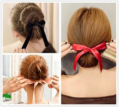ANGELANGELA 3Pc Black Red Pink Ribbon Magic French Twist Bun Maker Holder Roll Rings Donut Updo Chignon Former Pads Foam Sponge Hair Styler Curler Braid Ponytail Hairstyle Styling Tool Accessories ** More info @