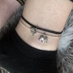 Lucky Elephant Anklet // Adjustable Charm Ankle Bracelet, Silver Chain, Choice of Cord Colour, Dainty and Elegant