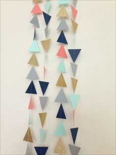 Navy Mint Grey Coral Gold Geometric Triangles by LaCremeBoutique, $10.00