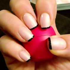 Pink Smoothie with thin black tips - Shallac Nails by @Natasha S Wilker