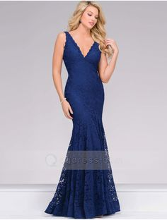 Mermaid V-neck and V-back Cut Navy Sleeveless Fitted Lace Prom Dress