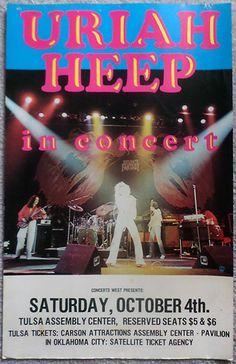1975 Uriah Heep Tulsa Concert Poster