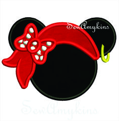 SewAmykins - Minnie Mouse Pirate head hat applique 3 sizes, $4.00 (http://www.sewamykins.com/minnie-mouse-pirate-head-hat-applique-3-sizes/)