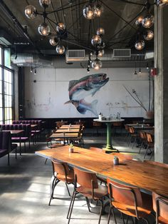 {Impressive fish mural in a newly opened L. Oyster Bar Restaurant, Ocean Restaurant, Industrial Restaurant, Luxury Restaurant, Restaurant Concept, Restaurant Interior Design, Opening A Restaurant, Pallet Couch Outdoor, Diy Outdoor Furniture