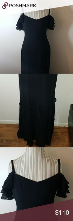 Ralph Lauren gown Black chiffon ruffle accent gown beaded spaghetti strap with ruffle drape sleeve Lauren Ralph Lauren Dresses
