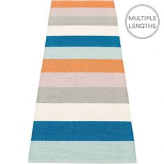 The Pappelina Molly petrol runner embraces a simple stripe design in bright hues, perfect when you want to add a splash of colour in a room.  Woven from soft plastic using traditional Swedish techniques, Pappelina rugs can be used in all areas of the home.  They are reversible, dust and dirt repellent, and fully washable, although a quick vacuum is probably all they will ever need to keep them looking good as new.